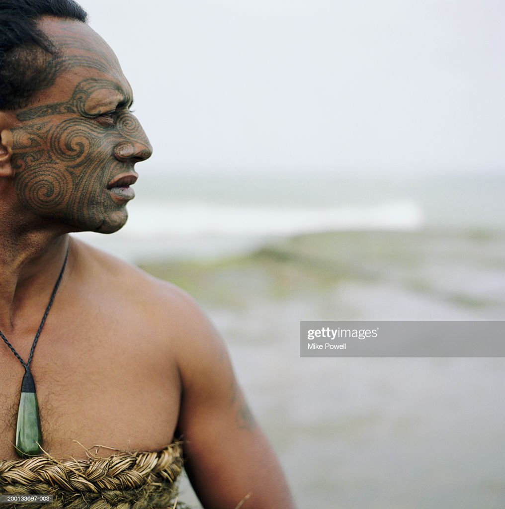 Maori Warrior Tattoos: Maori Warrior With Ta Moko Tattoo On Face Stock Photo