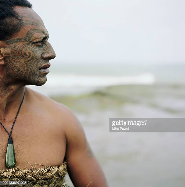 Maori warrior with Ta Moko tattoo on face