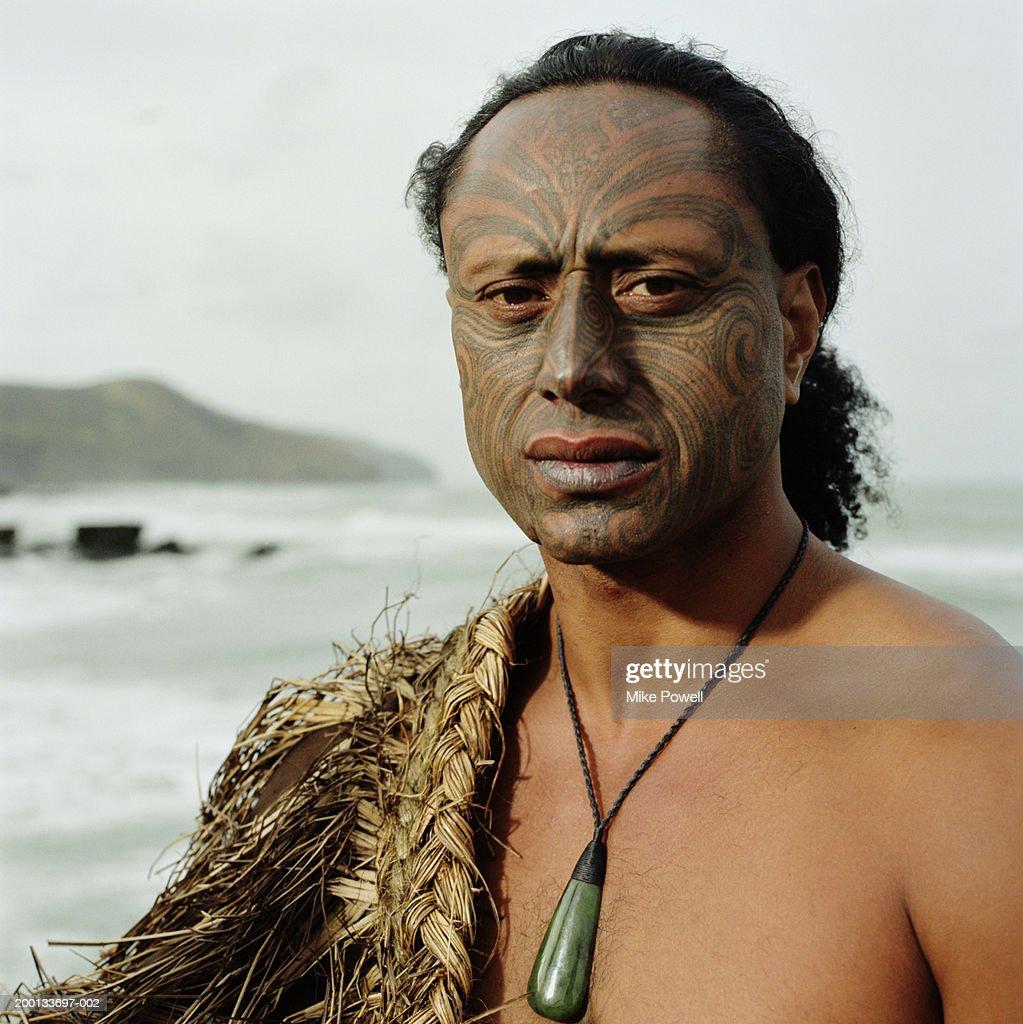 Maori warrior with Ta Moko tattoo on face, portrait : Stock Photo