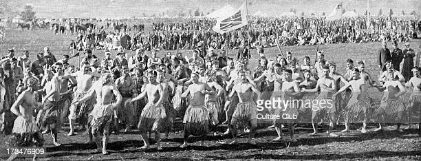 Maori warriors dancing the haka before the Duke of Cornwall at Roturua New Zealand During Empire Tour in Autumn 1901 Incestral war dance