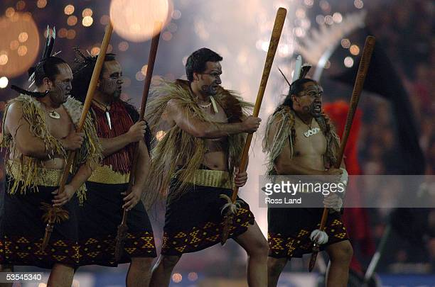 Maori warriors perform prior to the All Blacks 3819 win over the British and Irish Lions in the third and final test at Eden Park Saturday July09 2005