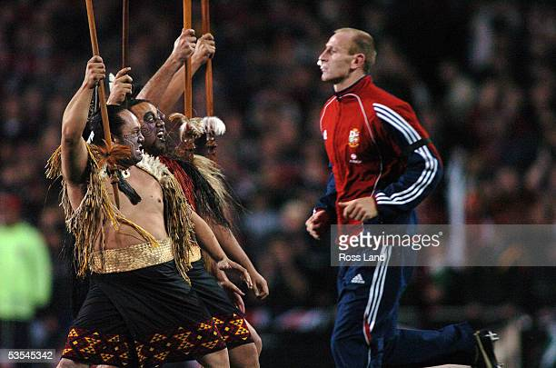 Maori warriors welcome Lions captain Gareth Thomas to the field prior to the All Blacks 3819 win over the British and Irish Lions in the third and...