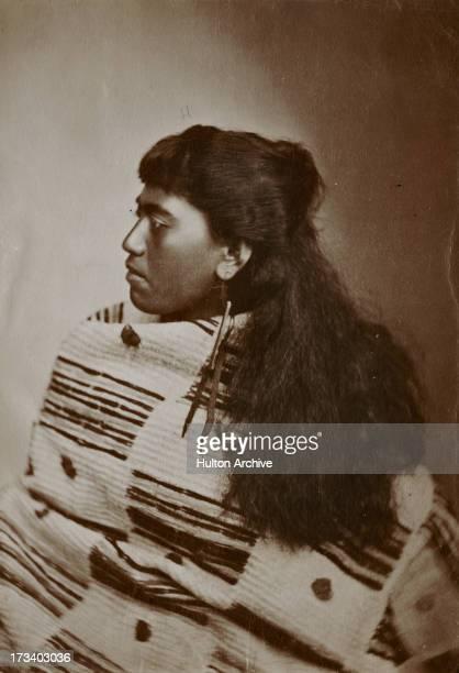 A Maori woman wearing traditional clothing New Zealand circa 1870