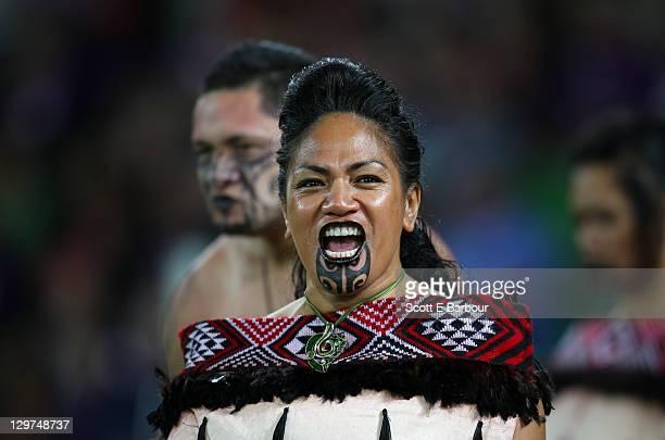 Maori woman wearing traditional clothing