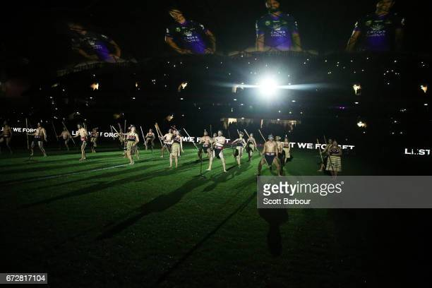 Maoris perform a haka during the round eight Anzac Day NRL match between the Melbourne Storm and the New Zealand Warriors at AAMI Park on April 25...