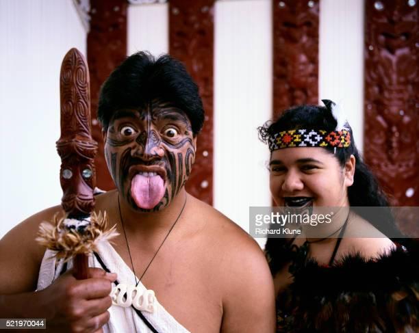 Maoris with Tattooed Faces