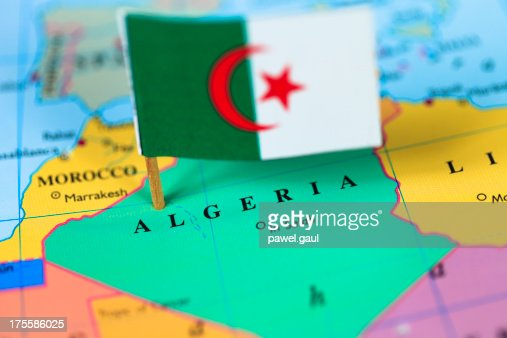Map and flag of Algeria