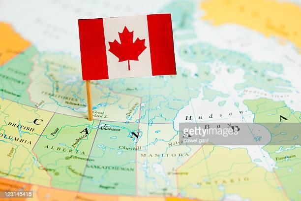 Karte und Flagge von Kanada