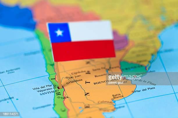 Carte et le drapeau du Chili