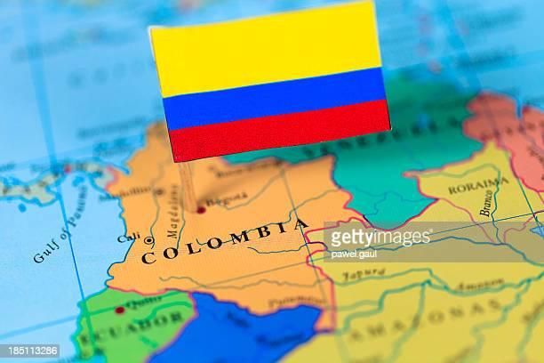 Bandera y mapa de Colombia