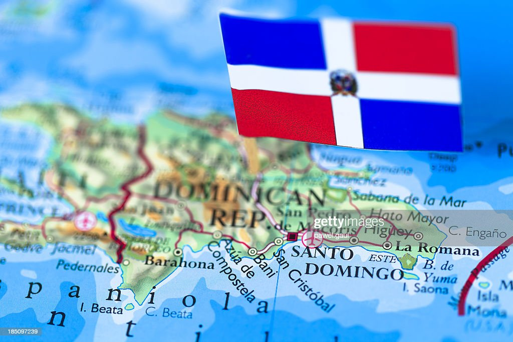 Map and Flag of Dominican Republic : Stock Photo