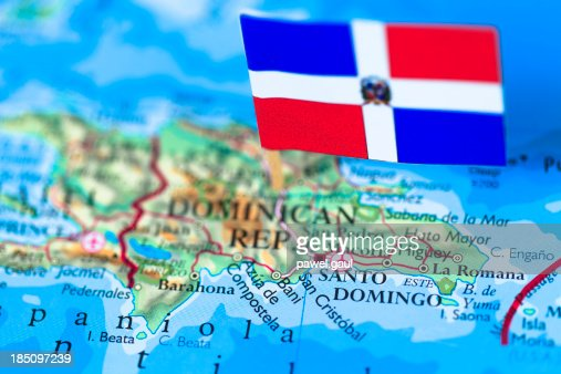 Map And Flag Of Dominican Republic Stock Photo Getty Images - Map of dominican republic