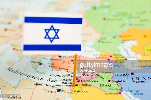 地図とイスラエル国旗