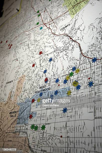 A map displayed at a press conference shows the locations of dozens of arson fires that were set over the weekend on January 2 2012 in Los Angeles...