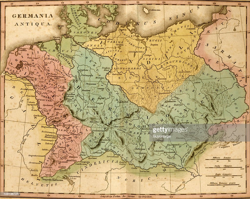 A map (by Henry Schenck Tanner) entitiled 'Germania Antiqua' shows ancient Germany.
