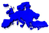 3D blue Europe map - on white background.