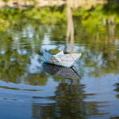 Map folded like boat and floating on lake
