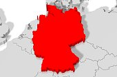 3D red map of Germany and surrounding countries.