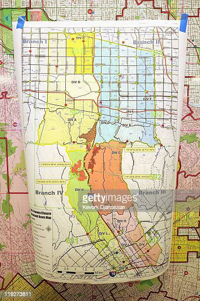 A map hangs in the command center of the Los Angeles City Emergency Operation Center before the shutdown of the freeway to demolish the Mulholland...