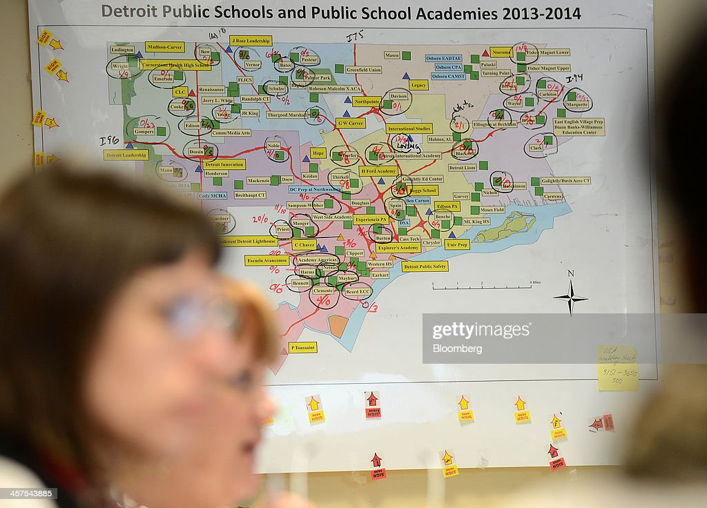 A map hangs on the wall during a strategy meeting in the 'war room' at Detroit Public Schools (DPS) offices in Detroit, Michigan, U.S., on Wednesday, Dec. 11, 2013. An all-out battle to attract Detroits dwindling pool of students is engulfing the citys competing schools even as plans for a civic renaissance count on them to retain residents and stabilize neighborhoods. Photographer: Bryan Mitchell/Bloomberg via Getty Images
