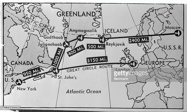 Map here shows probable location of strategically important air bases in Greenland that the US is reported seeking to lease from Denmark One is near...