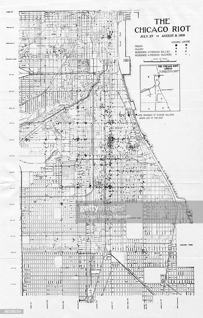 Map Of Chicago Race Riots Pictures Getty Images - Map of us before and after the riots