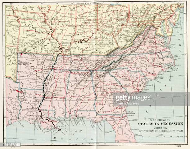 Map illustrating the various states in secession during the Southern Confederacy War mid nineteenth century Published in Shinn's History of the...