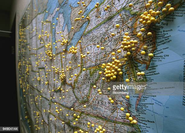 S map in the control room at KEXP radio station is pictured on August 11 2005 in Seattle Washington Yellow pins mark the locations of KEXP listeners...