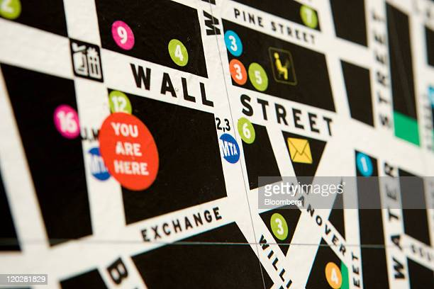 A map indicates where the New York Stock Exchange is located in New York US on Wednesday Aug 3 2011 US stocks were little changed following the...