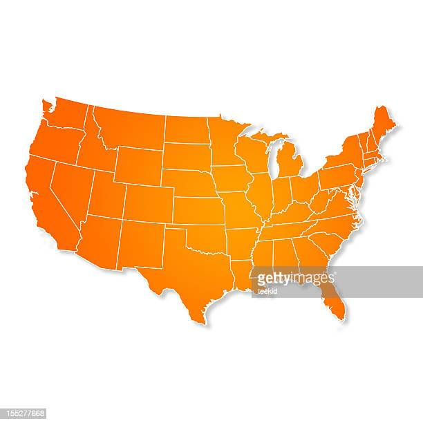 US Map Isolated On White Background