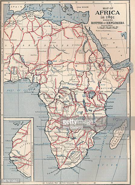 Map of Africa in 1891 showing routes of explorers 1906 From Cassell's Illustrated History of England Vol VIII [Cassell and Company Limited London...