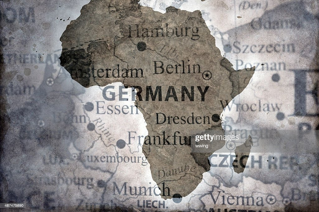 Map of Africa over Germany : Stock Photo