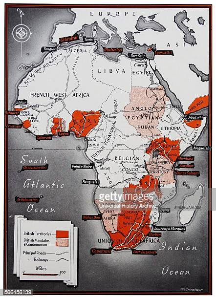 Map of Africa with a colour key identifying the British territories Dated 1900