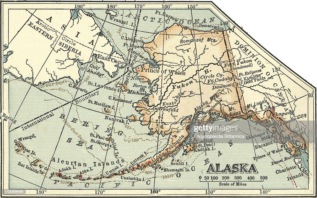 Map Of Alaska Pictures Getty Images - Map of the united states and alaska