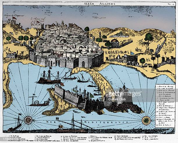 Map of Algiers 1700 Walled city on coast of the Mediterranean North Africa Backdrop for the Barbary corsairs
