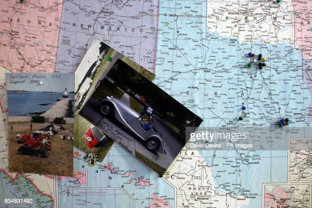 A map of America pin points destinations of Morgan car owners