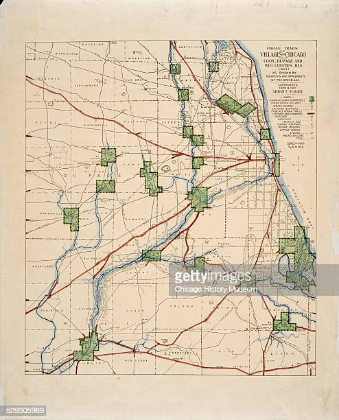 Map of American Indian trails and villages of Chicago Illinois and of Cook DuPage and Will Counties Illinois in 1804 Map by Albert F Scharf 19001901...