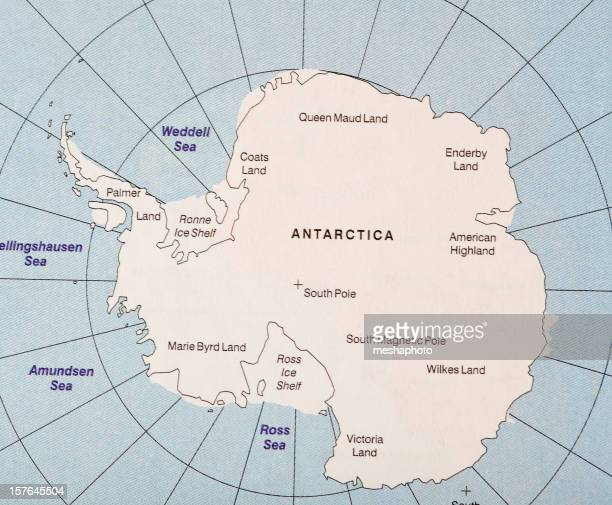 Map of Antarctica continent with oceans
