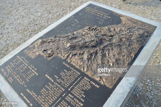 A map of Anzac Battlefield of New Zealand is seen at Chunuk Bair on the Gallipoli peninsula in Canakkale Turkey on November 4 2017 ''Turkey is...