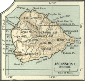 Map Of Ascension Island Map Of An Ascension Island Highlighting Hills And Mountains Circa 1902 From The 10Th Edition Of Encyclopaedia Britannica