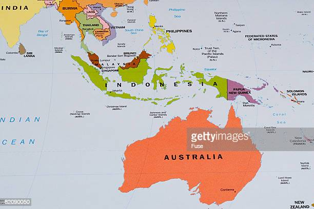 Map of Australia and Indonesia