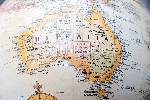 map of australia on a world atlas stock photo