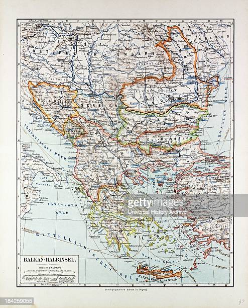Map Of AustriaHungary Greece Serbia Bosnia And Herzegovina Romania Bulgaria Macedonia Montenegro And Crete Albania Bulgaria 1899