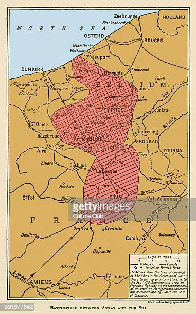 WWI Map of Battlefield between Arras and the Sea