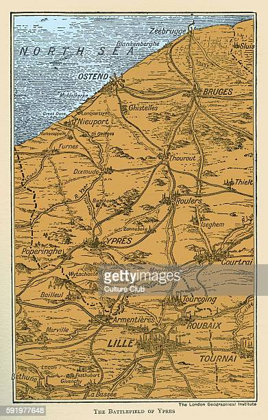 WWI Map of Battlefield of Ypres