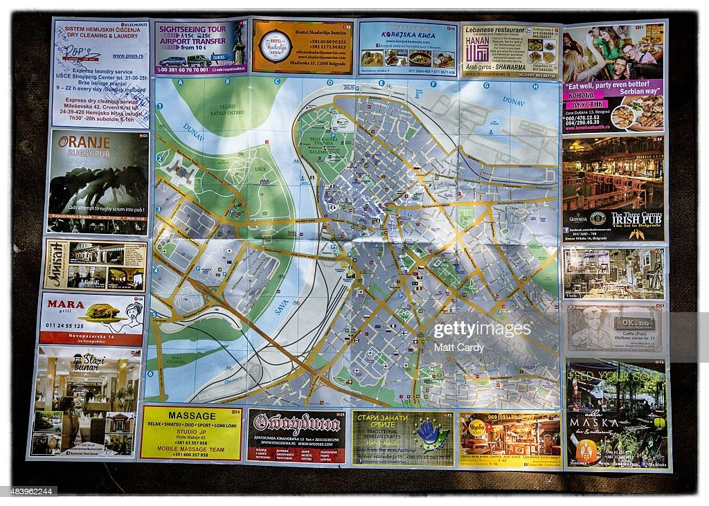 A map of Belgrade in Serbia is seen after it was discarded beside railway tracks that run from Serbia into Hungary and is used as a route by migrants...