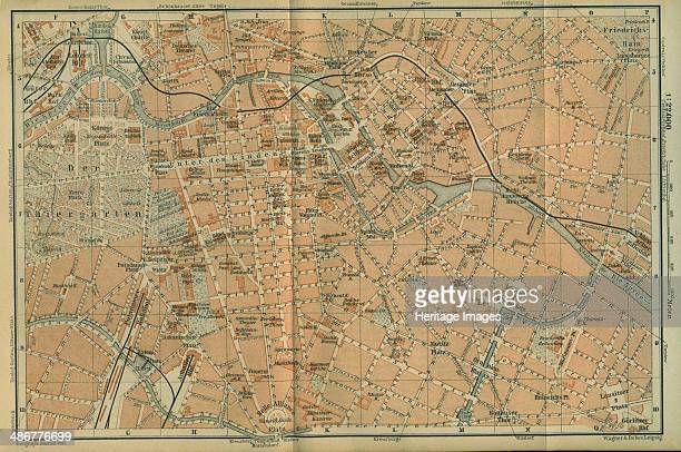 Map of Berlin Center from a travel guide Baedeker's Northeast Germany 1892 Artist Wagner Debes Leipzig