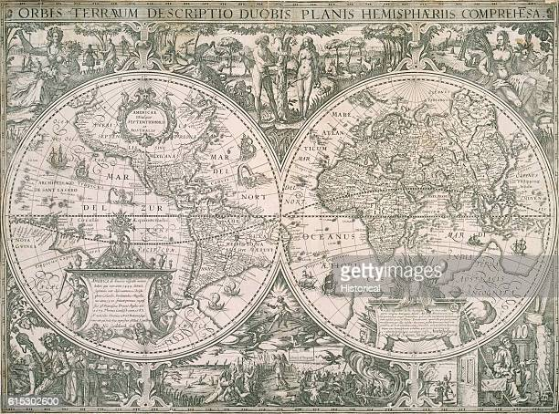 A map of both hemispheres engraved by Nic Geilekerck and published by Jan Jansson in Amsterdam 1618