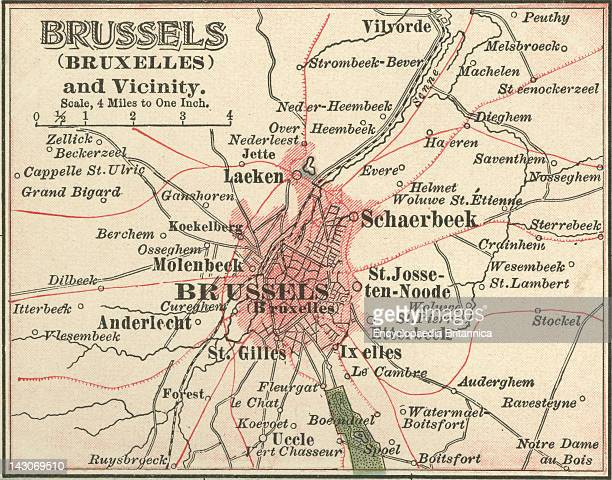 Map Of Brussels Map Of The City Of Brussels Belgium Circa 1900 From The 10Th Edition Of Encyclopaedia Britannica