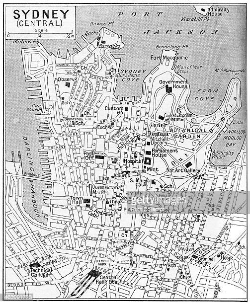 Map of central Sydney New South Wales Australia c1924 A print from Countries of the World edited by JA Hammerton volume six The Fleetway House London...